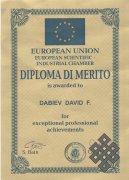 Диплом Европейской научно-промышленной палаты и медаль присуждены Давиду Дабиеву